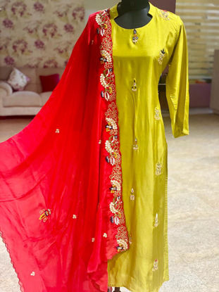 Picture of Pure Silk Kurta With Gota Work Set