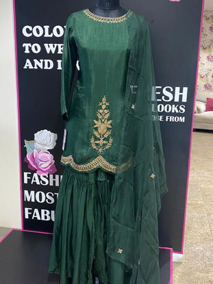 Picture of Pure Silk Zardozi Kurta With Sharara and Dupatta - Green