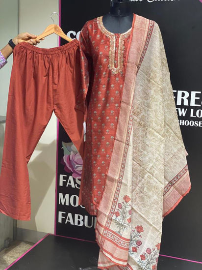 Picture of Straight Cut Tunic In Chanderi Silk With Pants And Dupatta