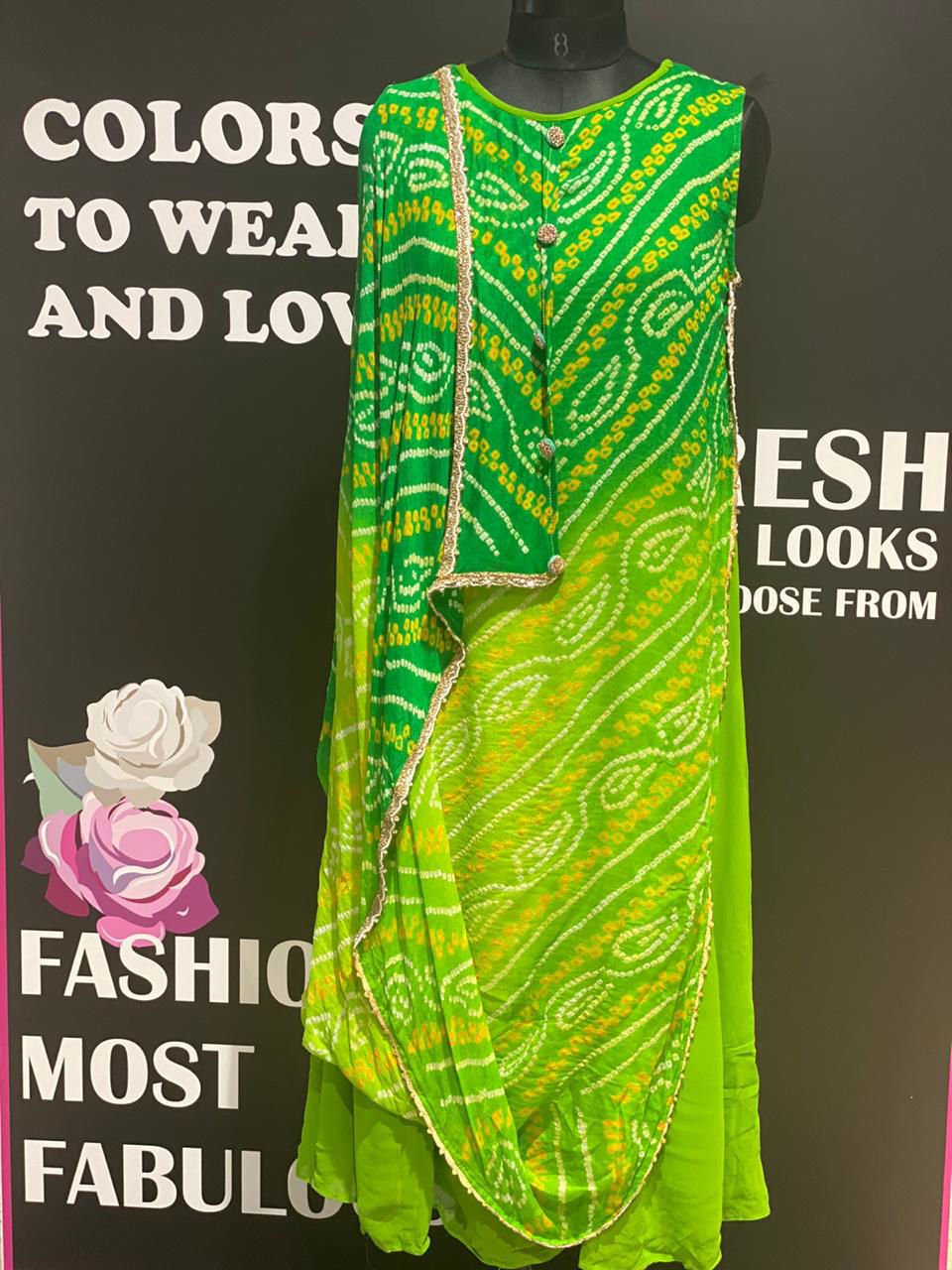 Picture of Crepe Silk Hand Done Bandhej Tunic