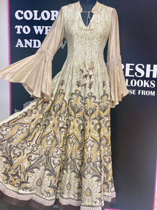 Picture of Silk Gown In Kali styling With Block Prints
