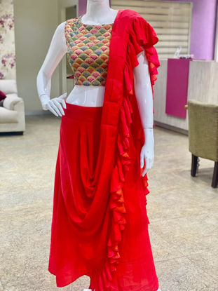 Picture of Soft Silk Indo-Western Crop Top With Cowl Skirt