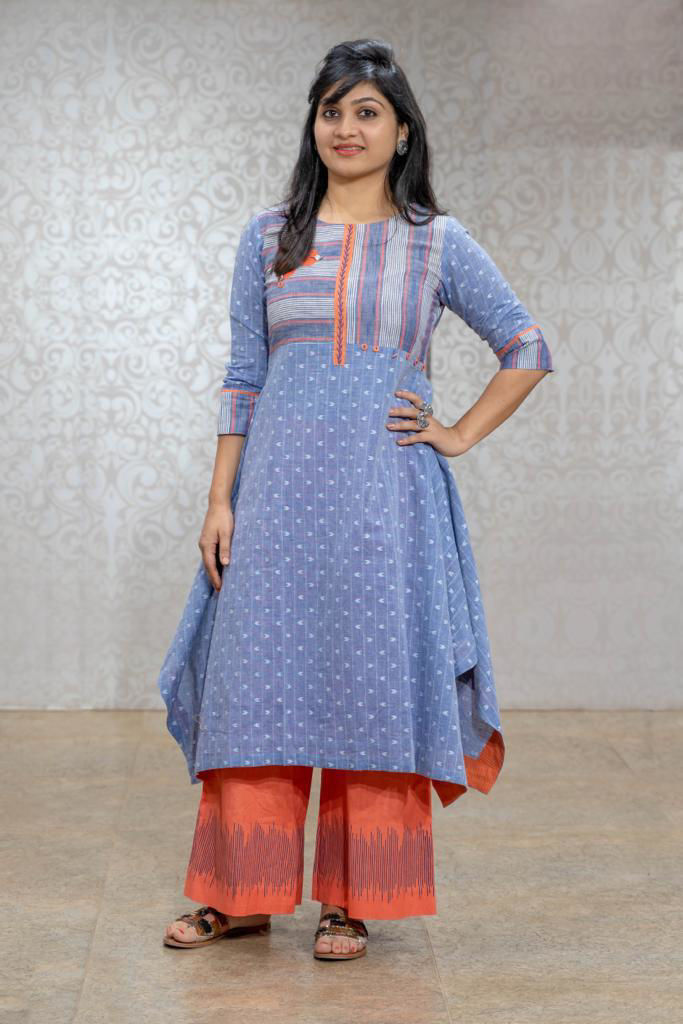 Picture of Handloom Cotton Weaved Kurta And Palazzo