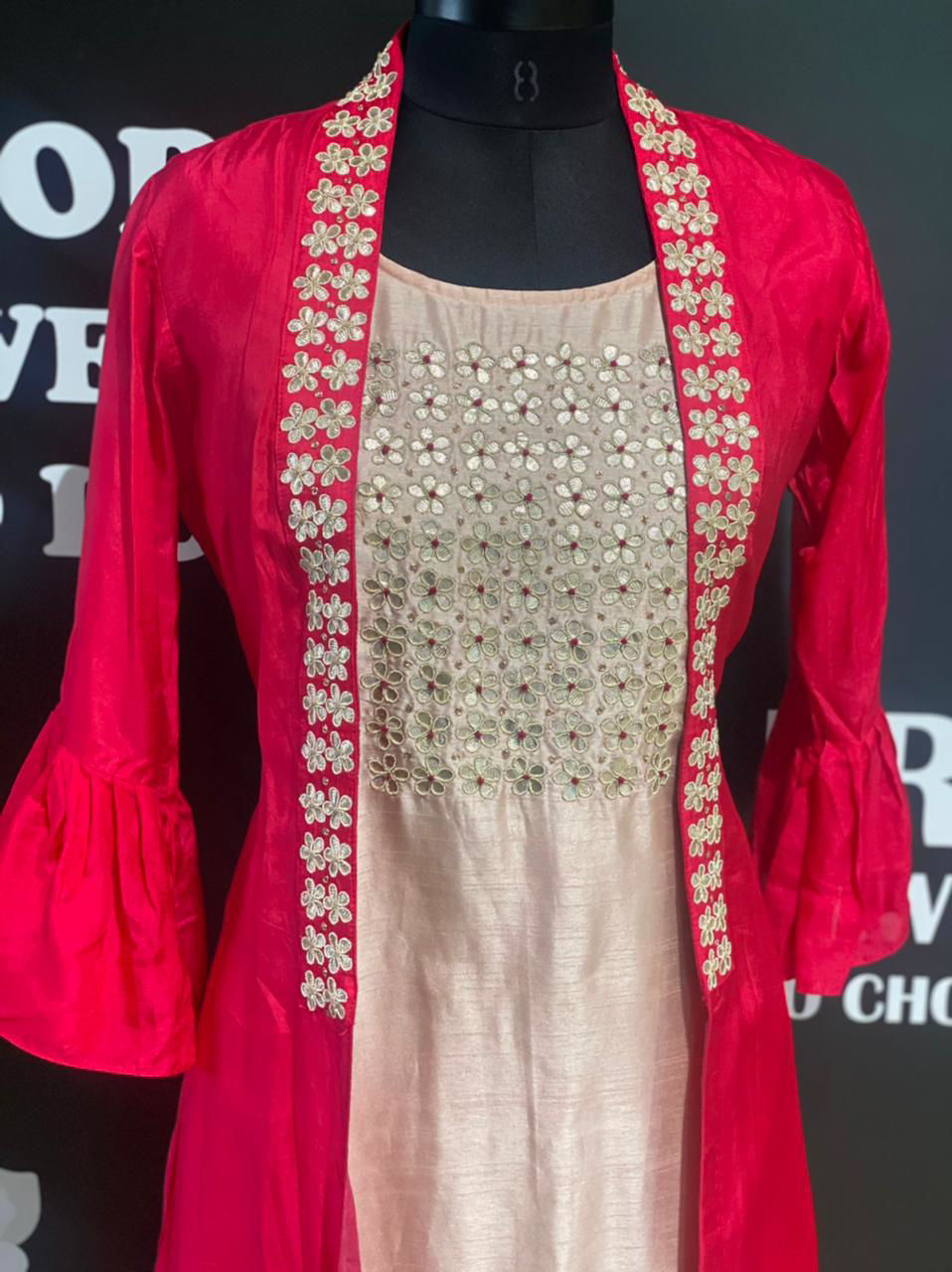 Picture of Silk Long Sleeveless Tunic Yolk Work And Open Jacket