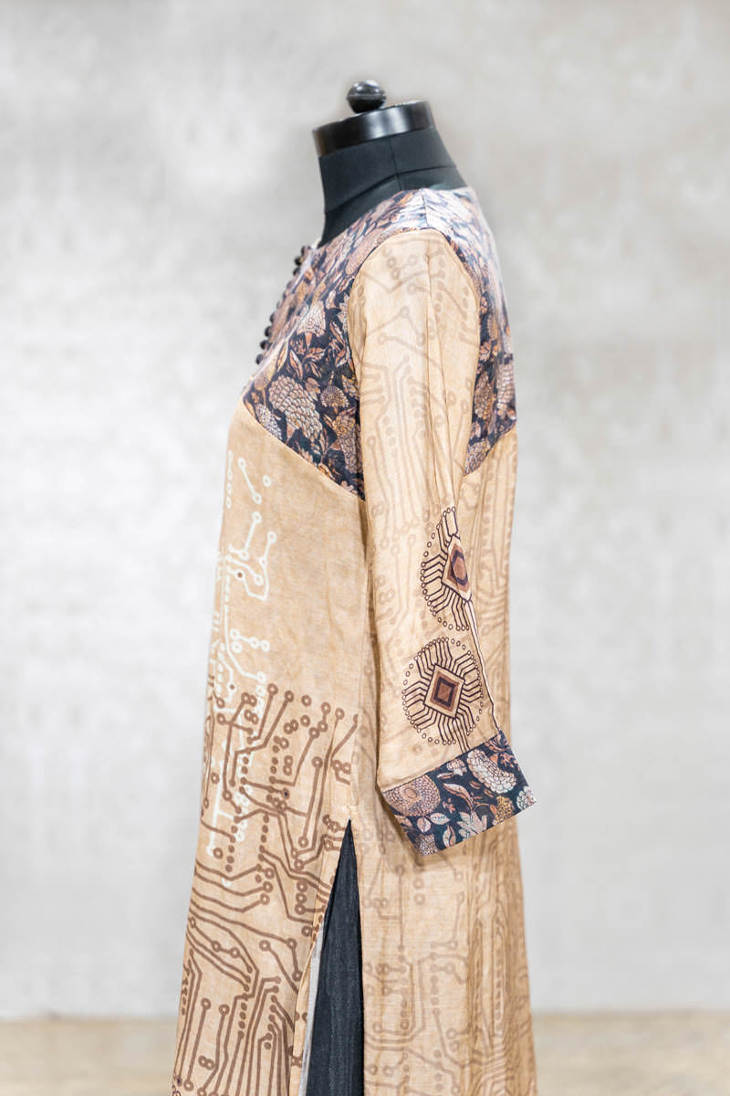 Picture of Elegant Pastel Brown Silk Tunic