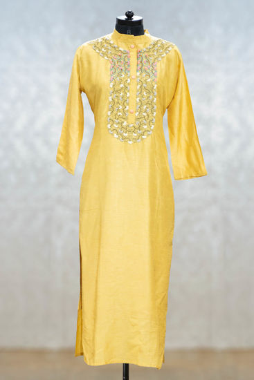 Picture of Elegant Yellow Silk Tunic