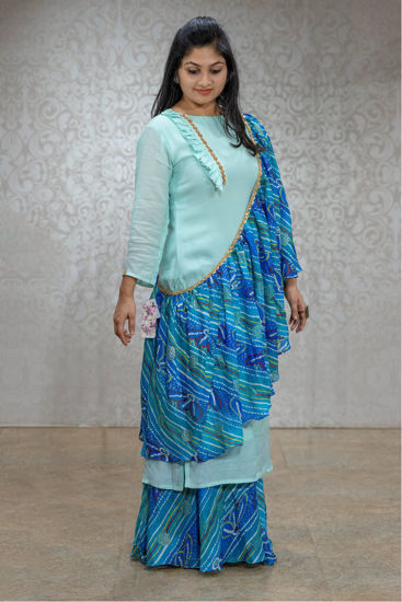 Picture of Stylish Skirt Set With Drape