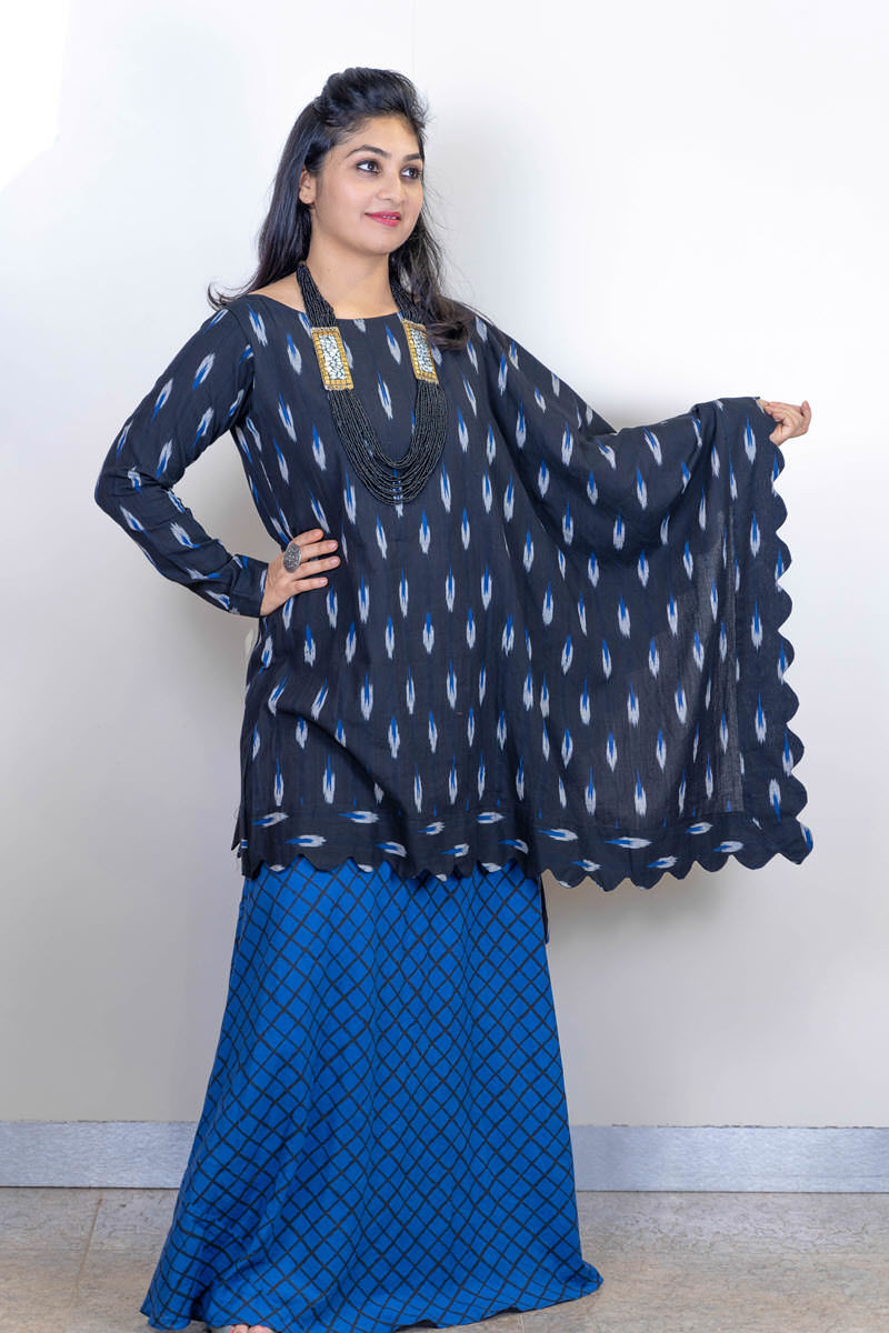 Picture of Smart Ikkat Top With Skirt
