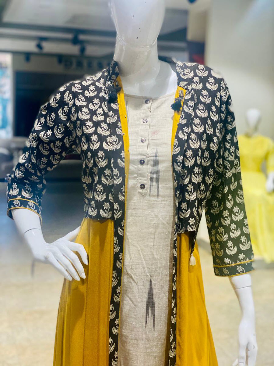 Picture of Long Gown With Ikkat Attached Jacket