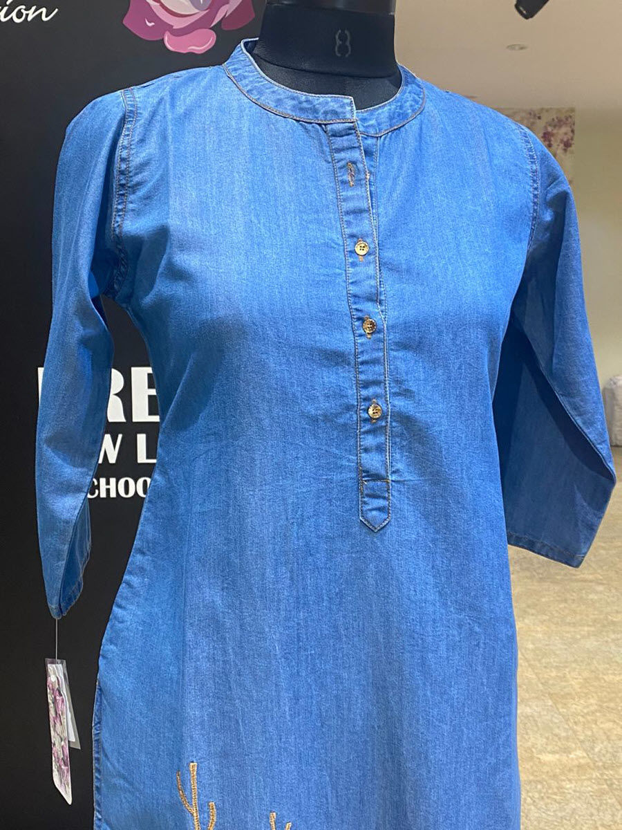Picture of Soft Cotton Denim Tunic With Buttons