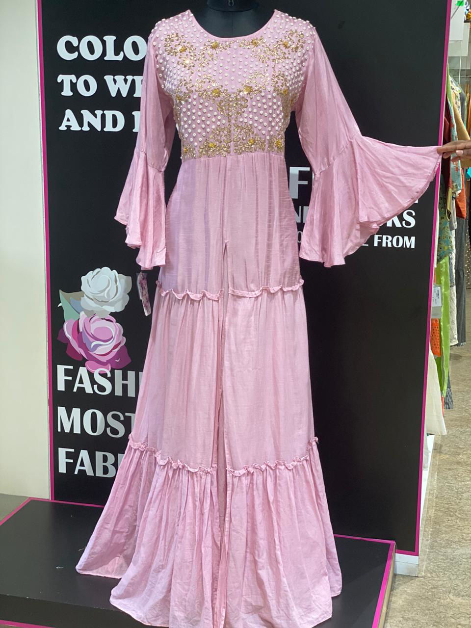 Picture of Long Pink Silk Gown With Bell Sleeves