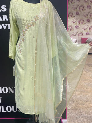 Picture of Long Straight Cut Pure Silk Tunic in Lemon Yellow