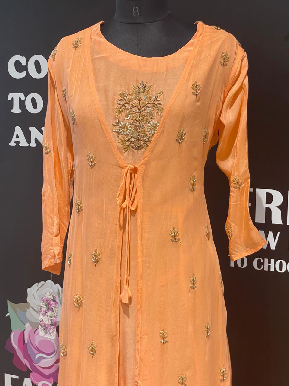 Picture of Long Silk Peachy Orange Gown With Sleeveless Jacket