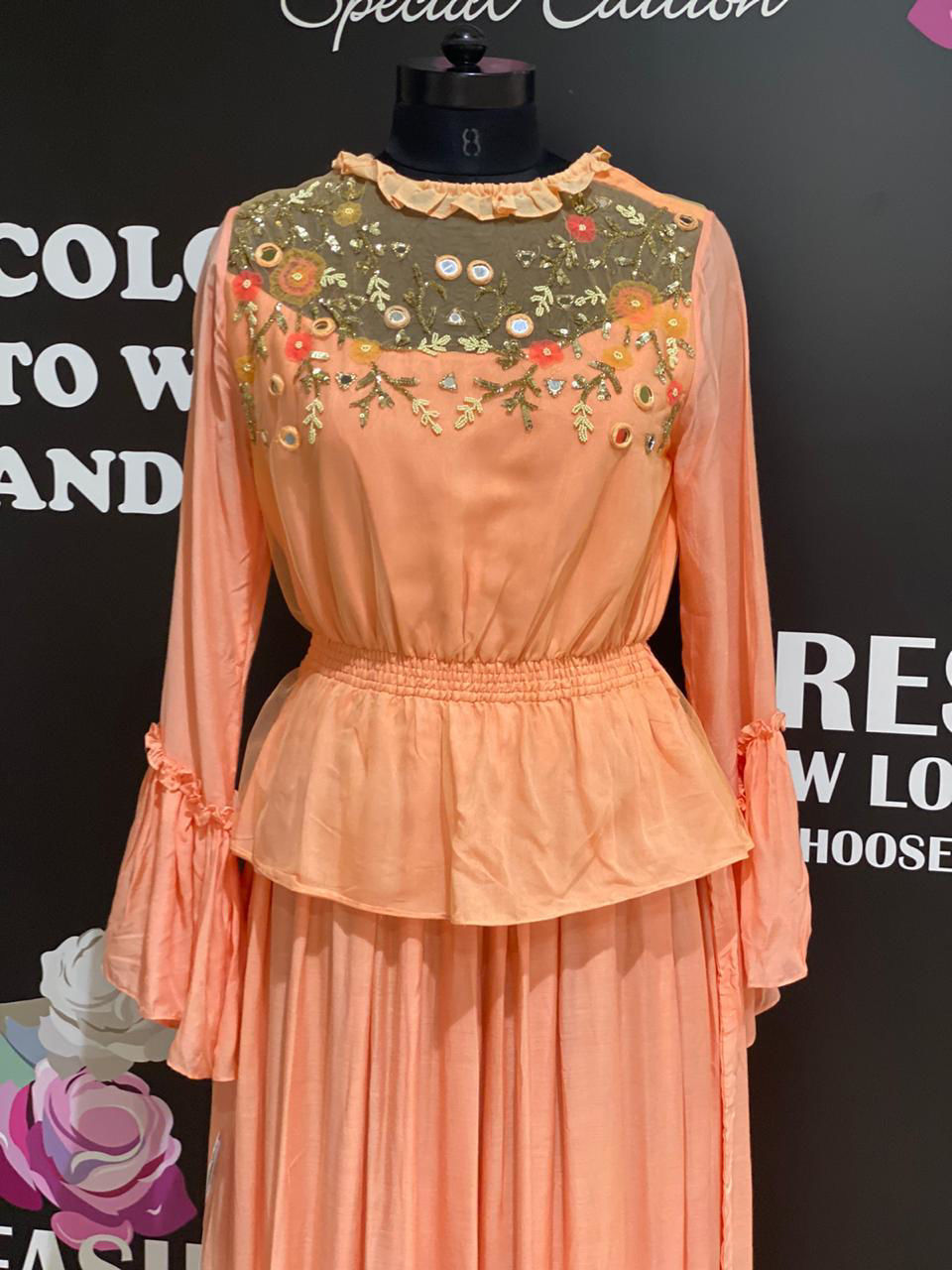 Picture of Long Peachy Peplum Gown