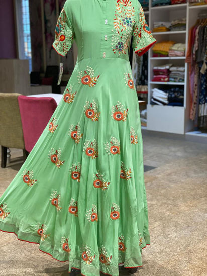 Picture of Long Floor Length Silk Gown In Green