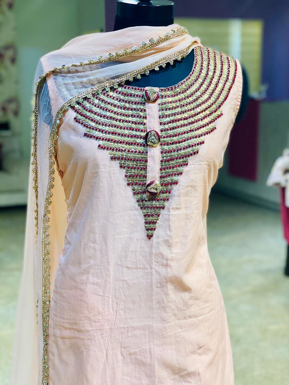 Picture of Long Gown With Shiffon Dupatta