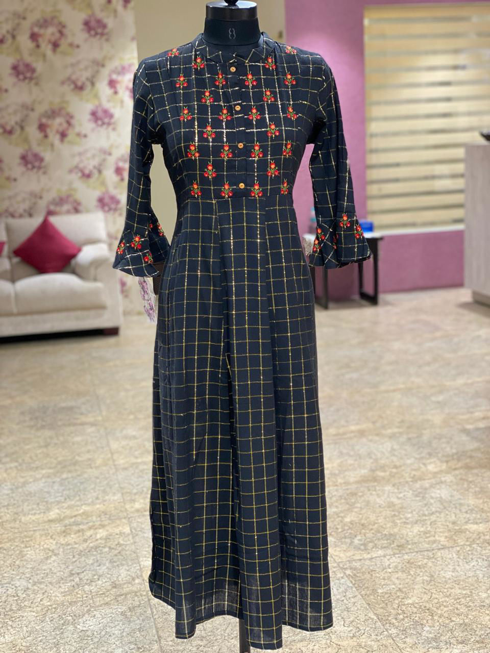 Picture of Cotton Tunic With Embroidery And Gold Checks