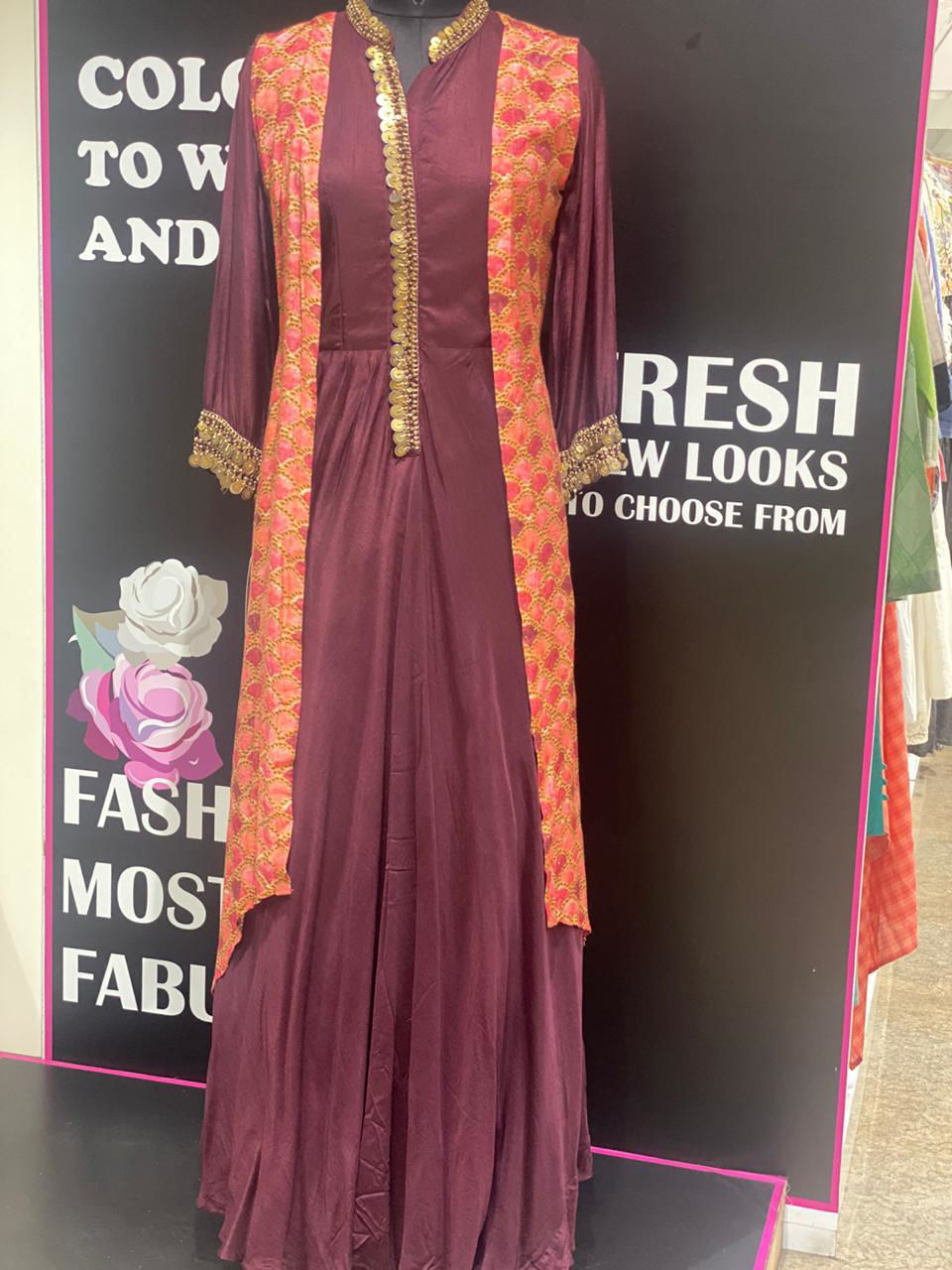 Picture of Pure Silk Floor Length Tunic With Printed Silk Jacket