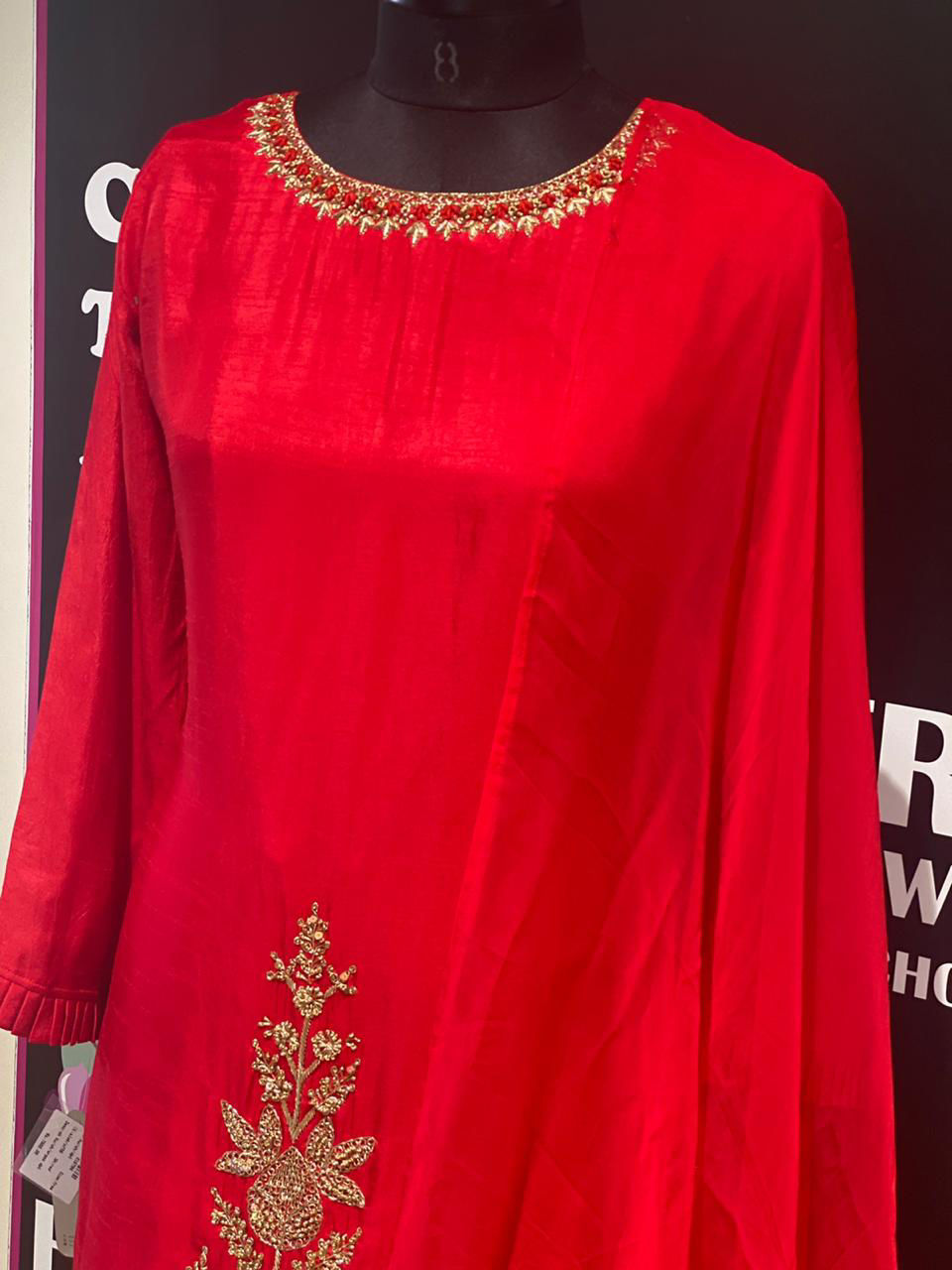Picture of Pure Silk Zardozi Kurta With Sharara and Dupatta