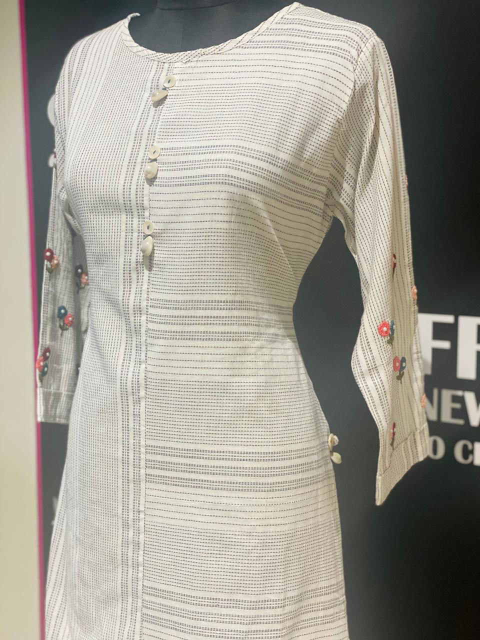 Picture of Half White Handloom Tunic With Kanta Work