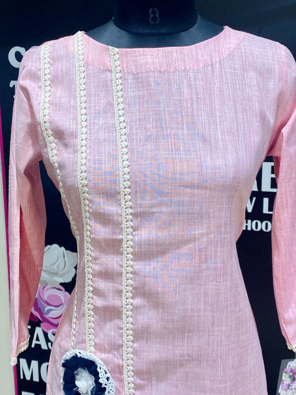 Picture of Soft Cotton Straight Cut Tunic With Flowers - Pink