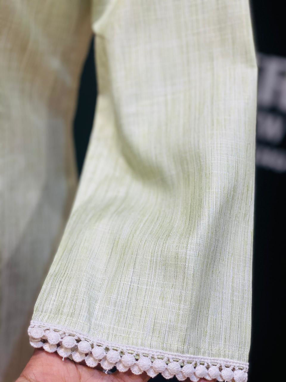 Picture of Soft Cotton Straight Cut Tunic With Flowers - Yellow