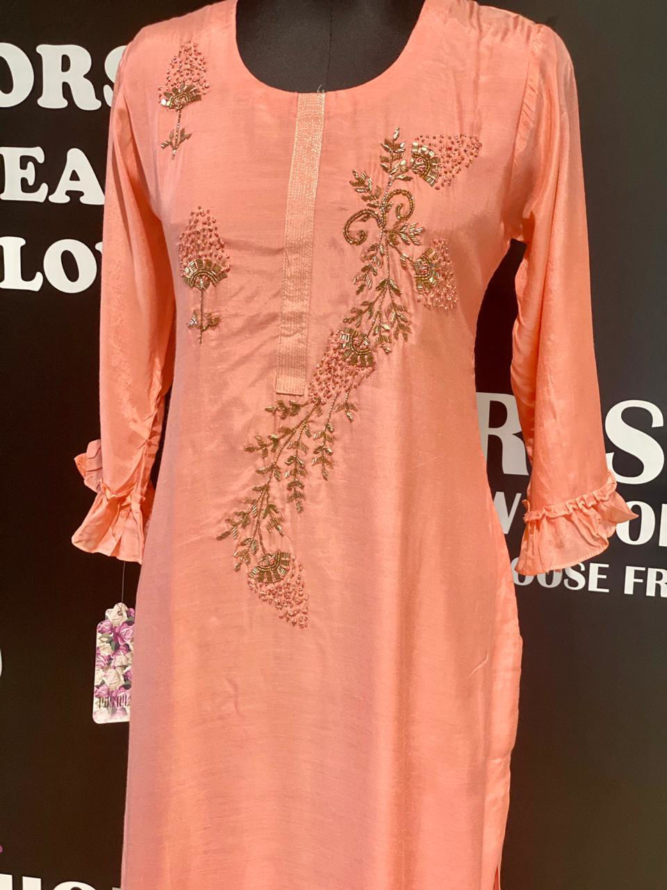 Picture of Soft Muslin Silk Tunic With Frills