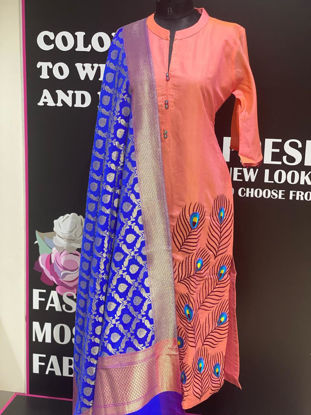 Picture of Long Chanderi Silk Kurta With Peacock Feather And Heavy Dupatta