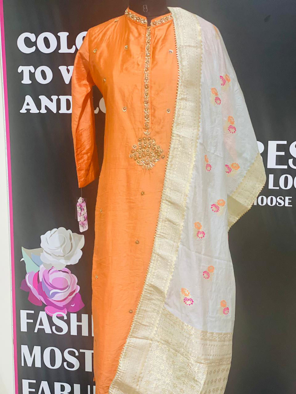 Picture of Soft Silk Kurta And Banarsi Dupatta In Orange