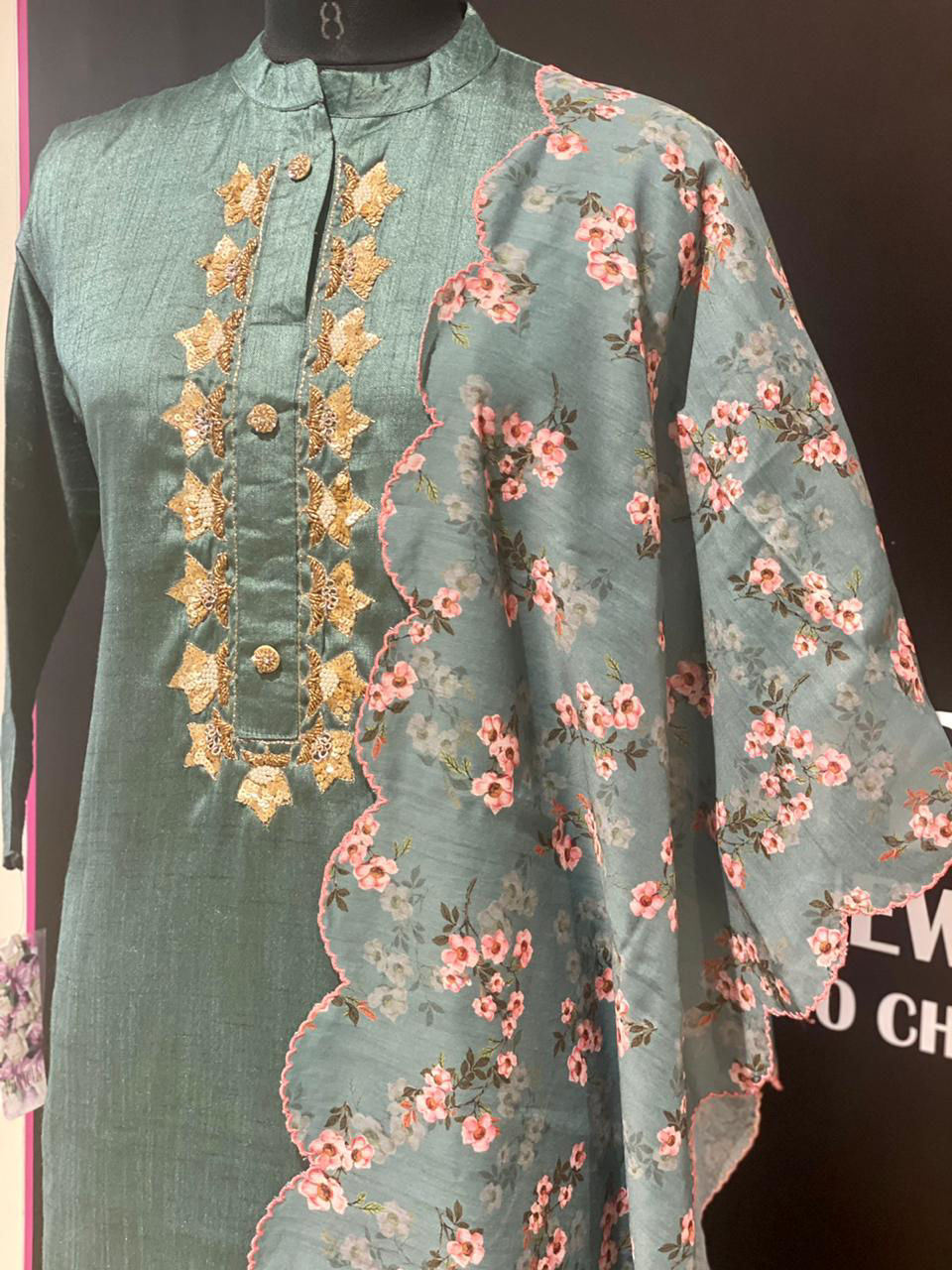 Picture of Long Silk Tunic With Floral Dupatta