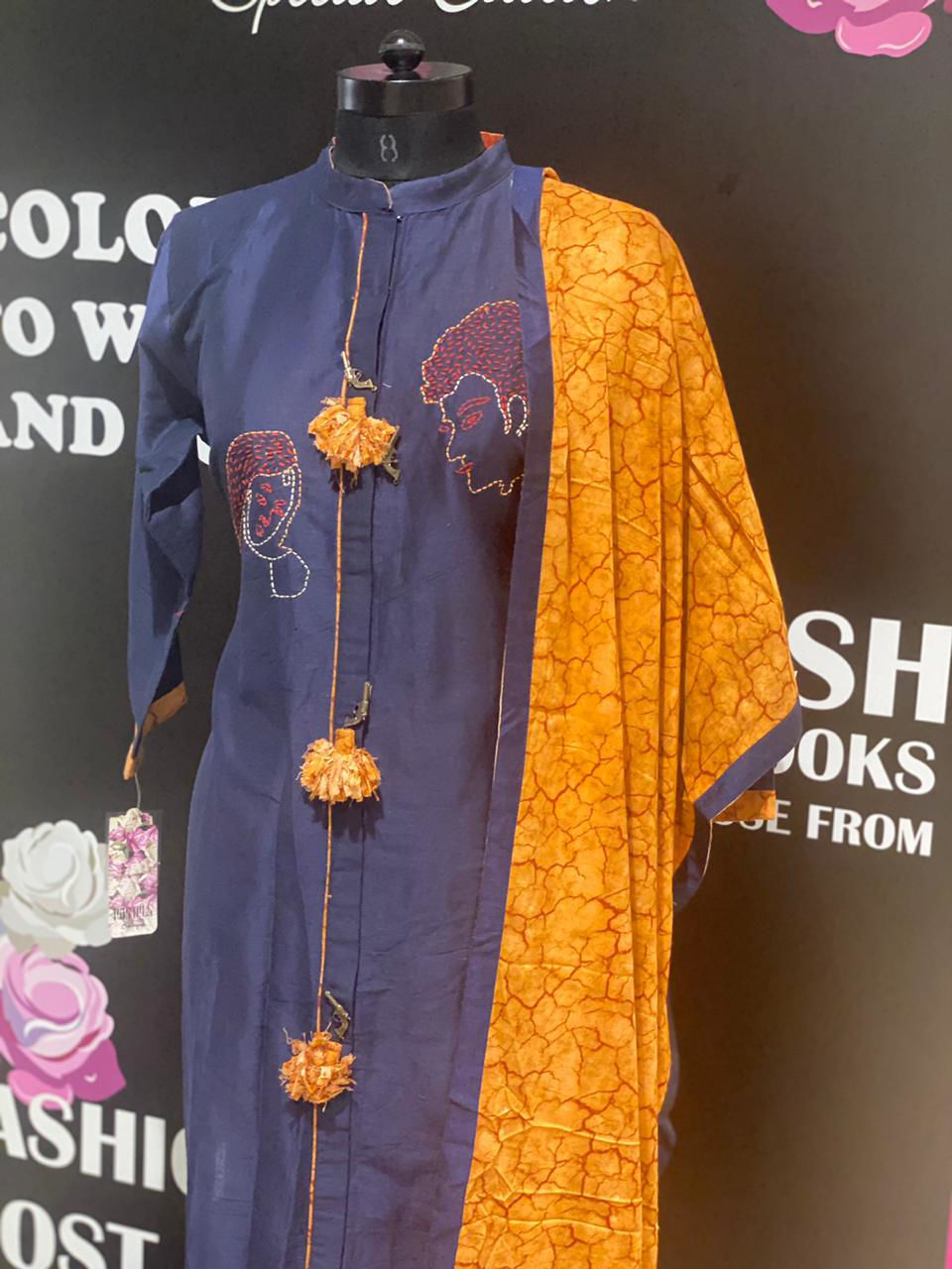 Picture of Long Straight Tunic In Silk With Dupatta