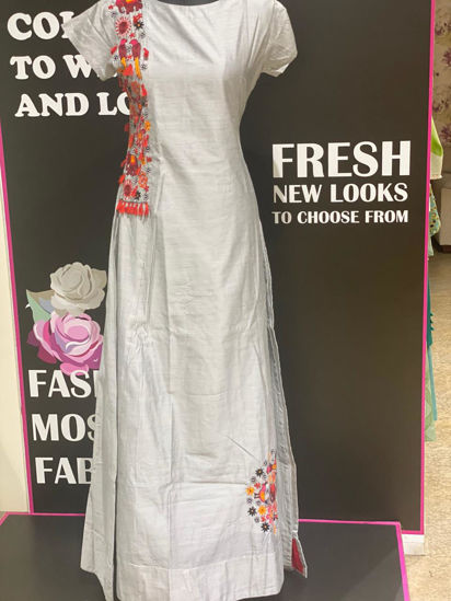Picture of Long Chanderi Silk Floor Length Gown