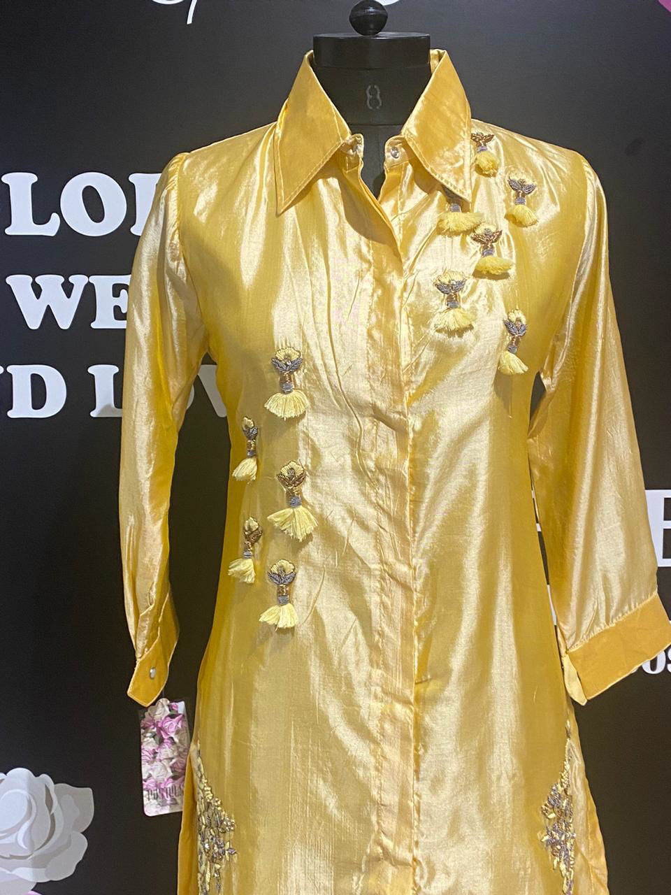 Picture of Pure Slik Kurta With Work And Straight Pants Gold Set