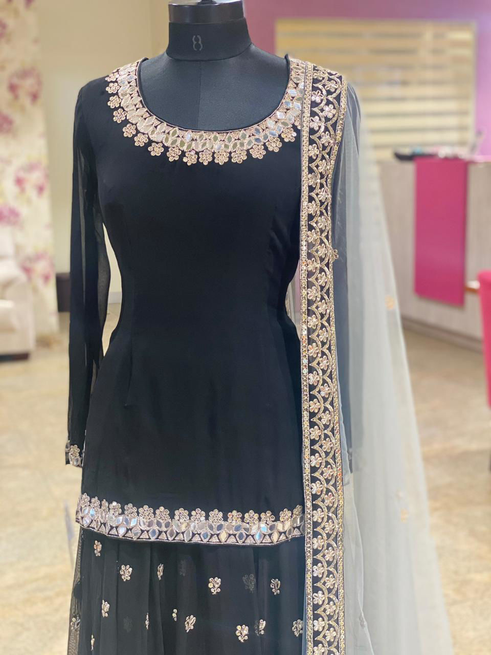 Picture of Pure Georgette Tunic And Ghagra With Hand And Mirror Work