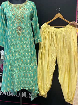 Picture of Pure Silk A line Kurta With Dhoti Pants