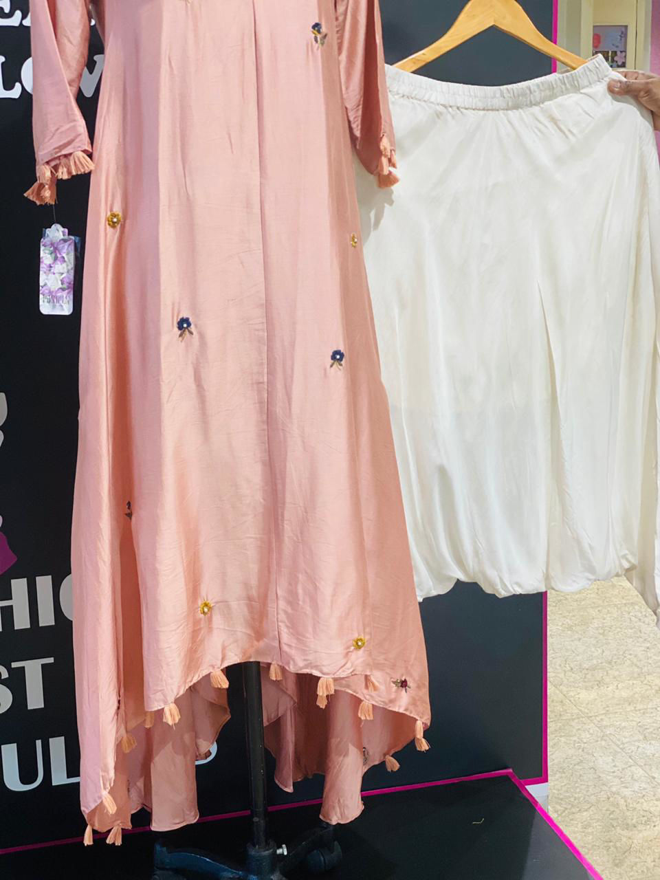 Picture of Pure Silk A line V Neck Short Kurta With Pants