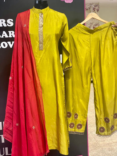 Picture of Long Straight Silk Kurta With Red Dupatta And Pants