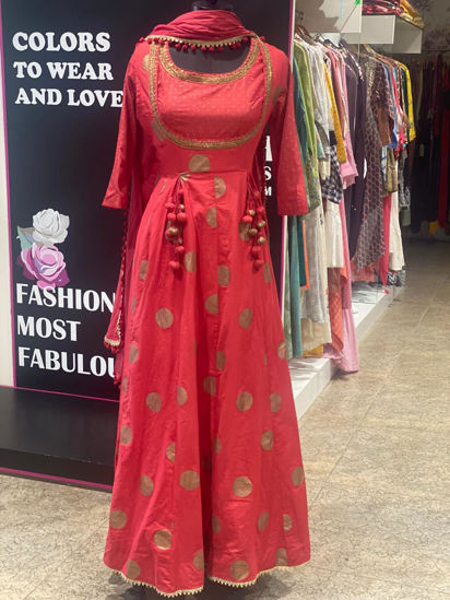 Picture of Long Floor Length Gown With Inner, Jacket and Dupatta