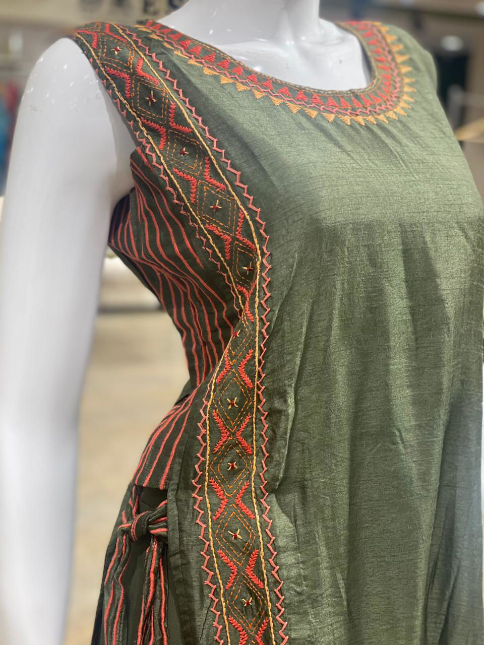 Picture of Silk Tunic With High Silts And Palazzo With Dupatta