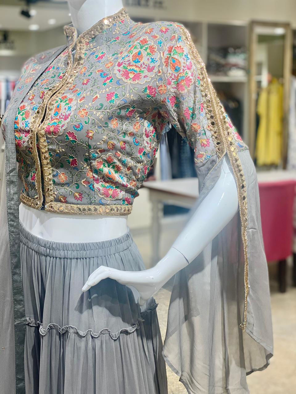 Picture of Indo-Western Top With Sharara And Dupatta Georgette Set