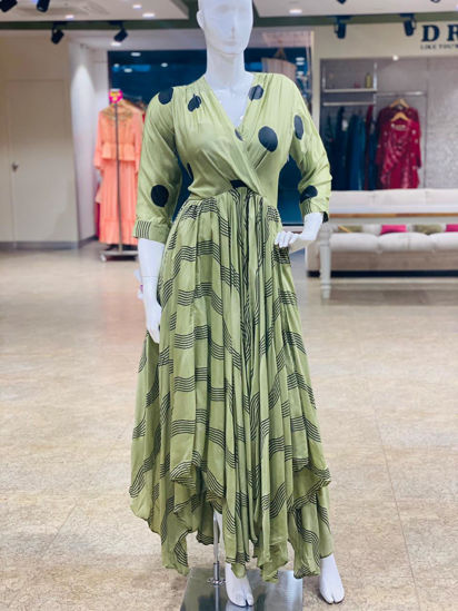 Picture of Silky Block Print Indo-Western Gown