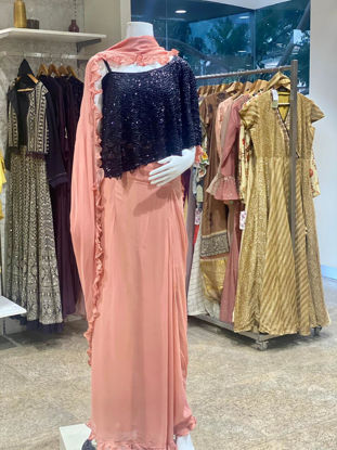 Picture of Georgette Indo-Western Cape Style Top With Wrap Style Skirt