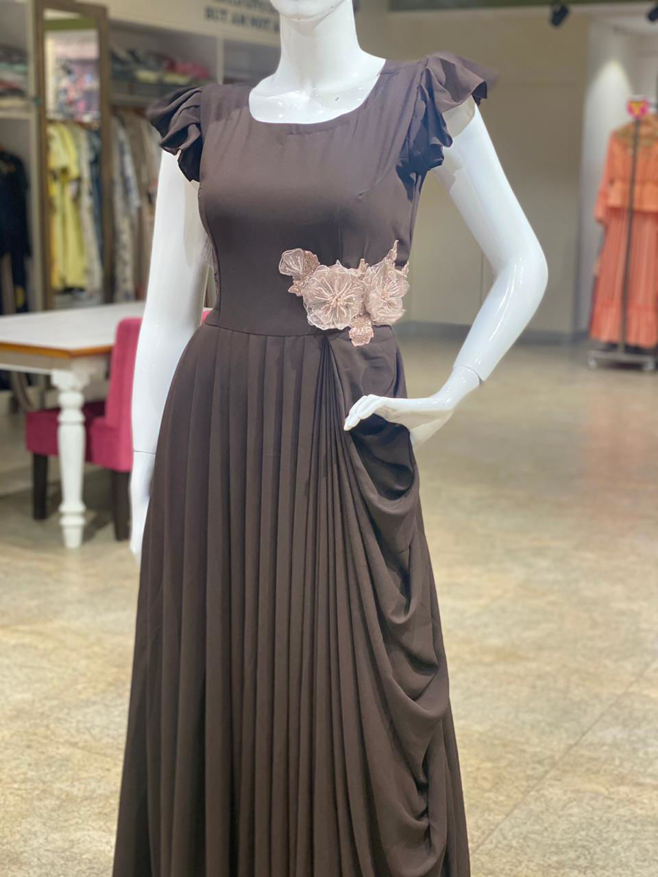 Picture of Indo-Western Georgette Gown With Side Cowl