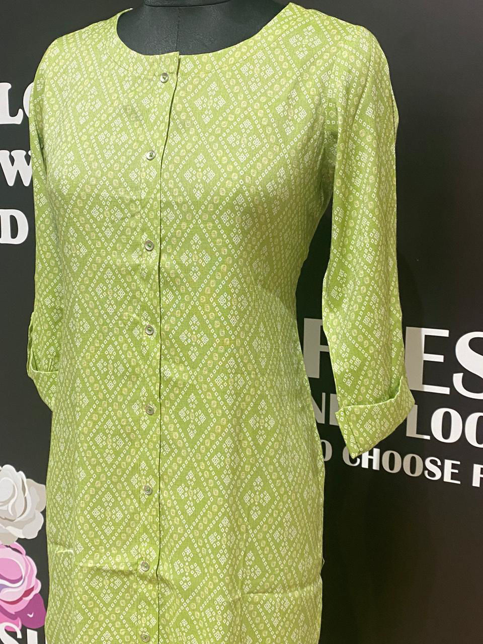 Picture of Printed Cotton Bandhni Tunic - Green