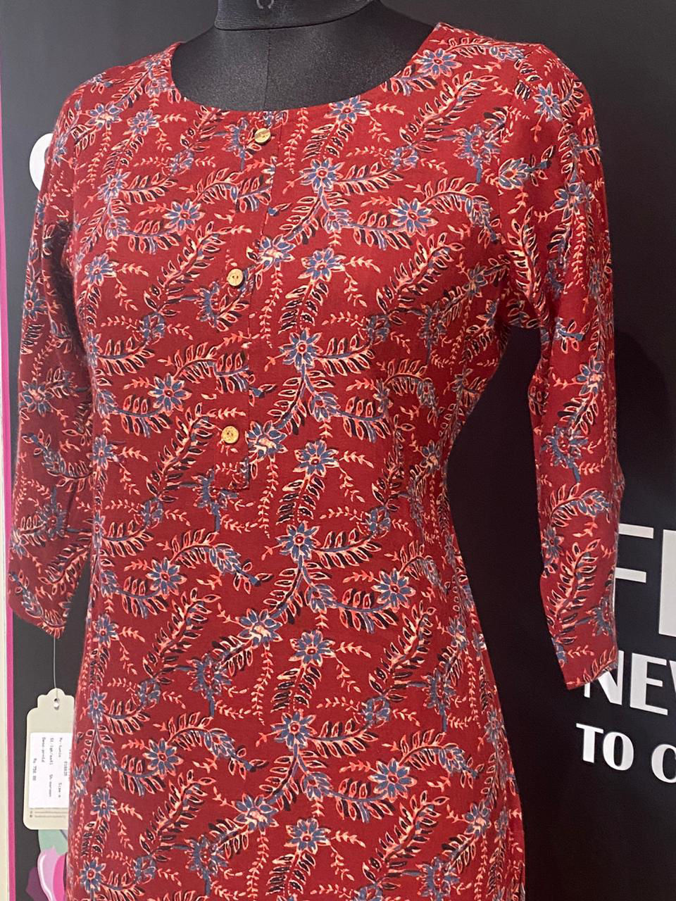 Picture of Pure Cotton Block Print Kurta With Mask