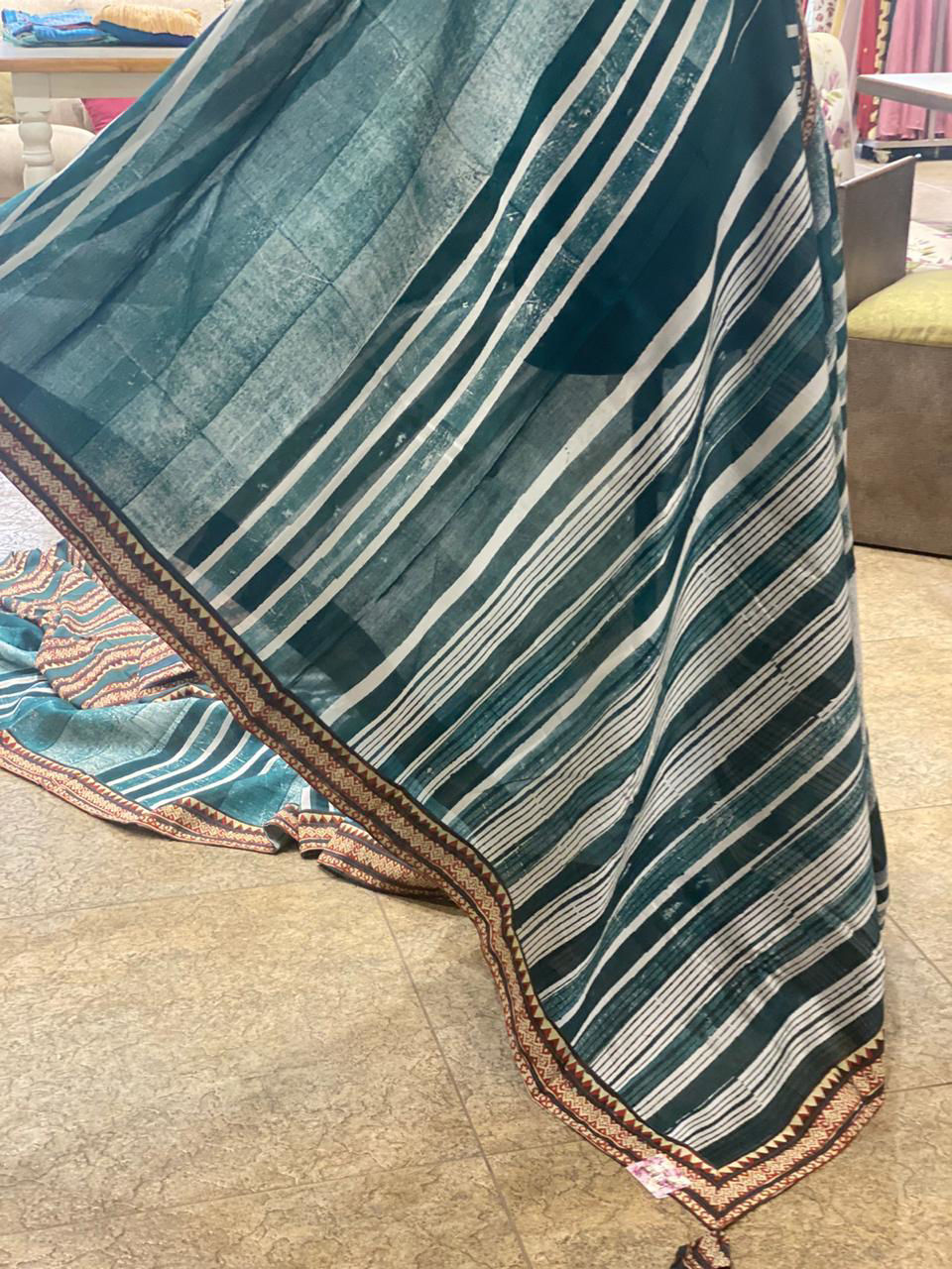 Picture of Pure Soft Cotton Silk Saree With Batik Print
