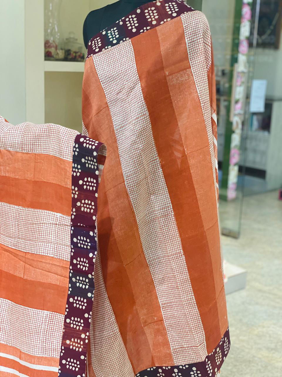 Picture of Pure Soft Cotton Silk Saree With Designer Mud Prints And Border