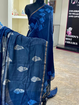 Picture of Pure Soft Chanderi Silk Saree With Hand Work Border Batik - Blue