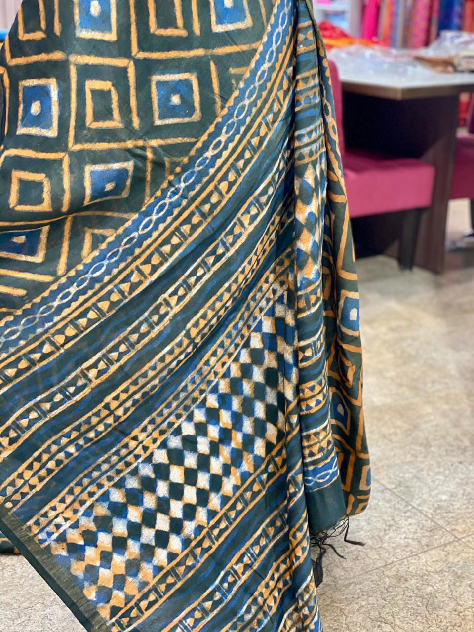 Picture of Pure Soft Chanderi Silk Saree With Complete Hand Work
