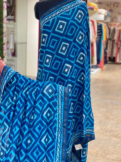 Picture of Pure Soft Chanderi Silk Saree With Complete Hand Work - Blue